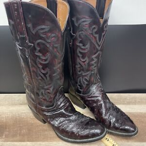 Lucchese P0612 Black Cherry Full Quill Ostrich Boots Men's Size 9 D Burgundy