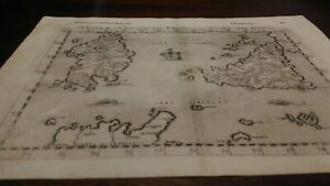 Antica Carta Geografica Cinquecentesca Sicilia Sardegna