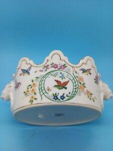 Towle Gazebo Porcelain Japan Lions Head Planter Vase Painted Birds Floral Gold