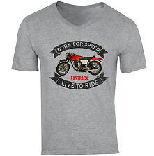Norton Commando vintage-neuf coton gris col V T-Shirt