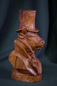 "Carved sculpture ""Mr.Bull - gentleman"", rare wood,  big size"