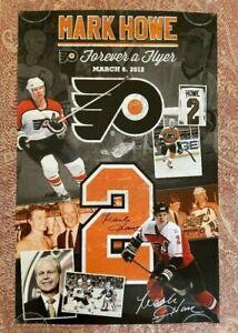 Autographed Mark Howe Phiadephia Flyers Poster RARE 18 x 28