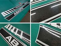 Fiat 595 500 Abarth Stripes Graphics Stickers OEM style GLOSS GLITTER BLACK
