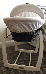 Dark Brown Moses Basket with stand and bedding