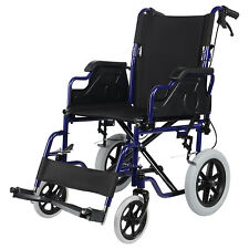 "Lightweight Wheelchair Folded Transport Chair With Swing Away Footrests,18"" Seat"