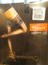 Fiore Sandrine Golden Line Deep Lace Top Hold UPS 20 Denier 5 Color Choices Black Size 3 - Medium