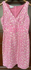 Maggy London Dress Size 12 Pink Sleeveless A-Line Lined V neck