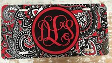 Paisley Personalized Monogrammed License Plate Car Tag Initials Custom Red
