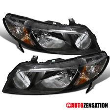 Fits 2006-2011 Honda Civic 4Dr Sedan Pair Black Headlights Lamps+Amber