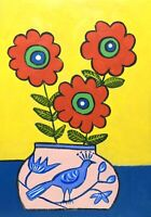 Original Painting Bold Primitive Flowers, Daisies Folk/naive Art In Bird Vase