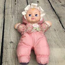 Playskool My Very Soft Baby Doll 1999 Pink Hat Flowers Squeaker Vinyl Face