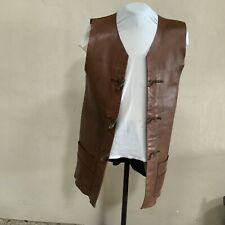 Vintage Leather Jerkin Jacket Waistcoat With Horn Effect Toggles Men Or Women