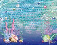 Undersea World Happy Birthday Mermaid  20X10FT Vinyl Backdrops Studio Background