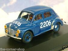 1/43 DIECAST RENAULT 4CV BERLINE TYPE R1063 #2206 BLUE MILLE MIGLIA RACE 1954