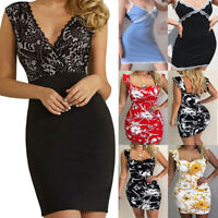 Women Sexy V Neck Lace Bodycon Dress Floral Cocktail Evening Party Club Dress