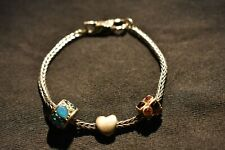 Trollbeads 925 sterling silver LAA charm bracelet with 3 charms, Swan Clasp.
