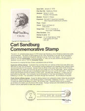 #7801 13c Carl Sandburg Stamp #1731 USPS Souvenir Page