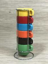 Set of World Market Colorful Stacking Mugs Multicolor with Metal Rack