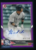 THAIRO ESTRADA AUTO 2018 Bowman Paper Purple #/250 Autograph Yankees Rookie RC