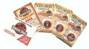 Dynamic Jurassic Park 7 x Explorer Certificates, Discovery Deed & Token Card