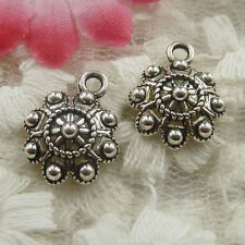 free ship 130 pieces Antique silver flower charms 16x12x4mm #4404