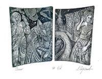 Ex libris Etching by Leonid Stroganov, Russia