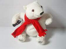 """9"""" Coca Cola Brand White Polar Bear Soft Toy With Red Scarf & Coke Bottle ..Q"""