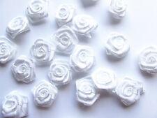 40 White Satin Ribbon Roses Embellishment 15mm Wedding Sewing Card/dress Making