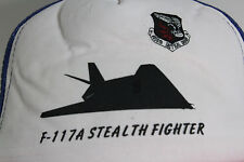 Vtg F-117A STEALTH FIGHTER Jet Red White & Blue Trucker Snap Back Hat 4450th