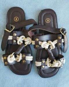 Women's Sz 8 Brown Rope Knot Wide Ankle Strap W/ Gold Buckle Flat Sandals. EUC