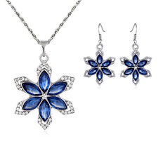 Fine sapphire Blue Crystal Flower Necklace Earring White Gold plated Jewelry Set