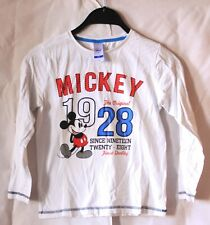 Disney Mickey Mouse Pullover langärmliger Jungen Kinder Pulli Weiß Größe 128