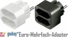 2x 220V Euro Strom mehrfach Adapter 2 fach Eurobuchse schwarz & weiß Neu & OVP