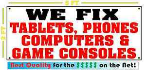 WE FIX TABLETS, PHONES, COMPUTERS & GAME CONSOLES Banner Sign