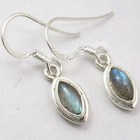 925 Sterling Silver MARQUISE LABRADORITE GEMSTONE DANGLING New Earrings 1.1""