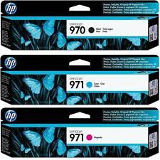 GENUINE 3-PACK HP 970 Black & 971 Magenta Cyan Ink OFFICEJET PRO X576 NEW