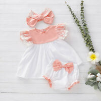 Newborn Infant Baby Girls Lace Dress Top+Bow Shorts+Headband Outfits Clothes Set