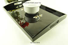 Handmade Wooden Tray, Rectangular Lacquered Decorative Tray Black Small, H051BS