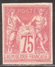 FRANCE #75a SCARCE Mint - 1876 75c Carmine Rose, Imperf