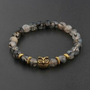 Fashion Men's Women' s Natural Lava Stone Owl 8MM Beads Charm Bracelets Jewelry