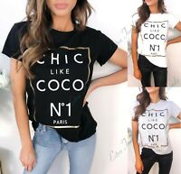 Women's Ladies Chic Like Coco Slogan Print Short Sleeve Fashion Tee T-Shirt Top