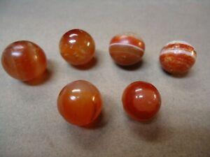 6 Vintage Natural Agate Gemstone Marbles   5/8  To  3/4    Good