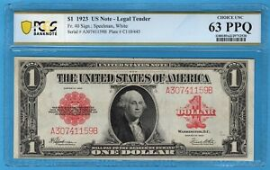 Fr. 40 1923 $1 Legal Tender Note PCGS Banknote Choice Uncirculated 63 PPQ