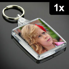 1x Premium Clear Acrylic Blank Keyrings Key Fobs 45 x 35 mm | Passport Photo