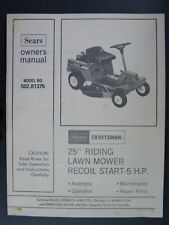 "Sears Craftsman 502.81375 25"" Riding Lawn Mower Owners & Parts Manual 28 Pages"
