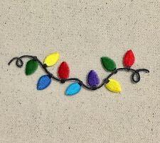 String of Light Bulbs Christmas/Lightbulbs - Iron on Applique/Embroidered Patch