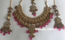 Pink And Gold Jhoda Akbar Style Necklace And Tika Set