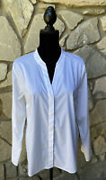 Laundry by Shelli Segal Womens White Long Sleeve Shirt Blouse Top Size 14 L