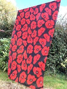 "Red Black Poppy Scarf Remembrance Sunday 72"" X 34"""