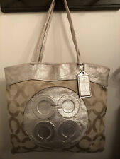 COACH 15013 Tote Bag Op Art Canvas Leather Beige Gold